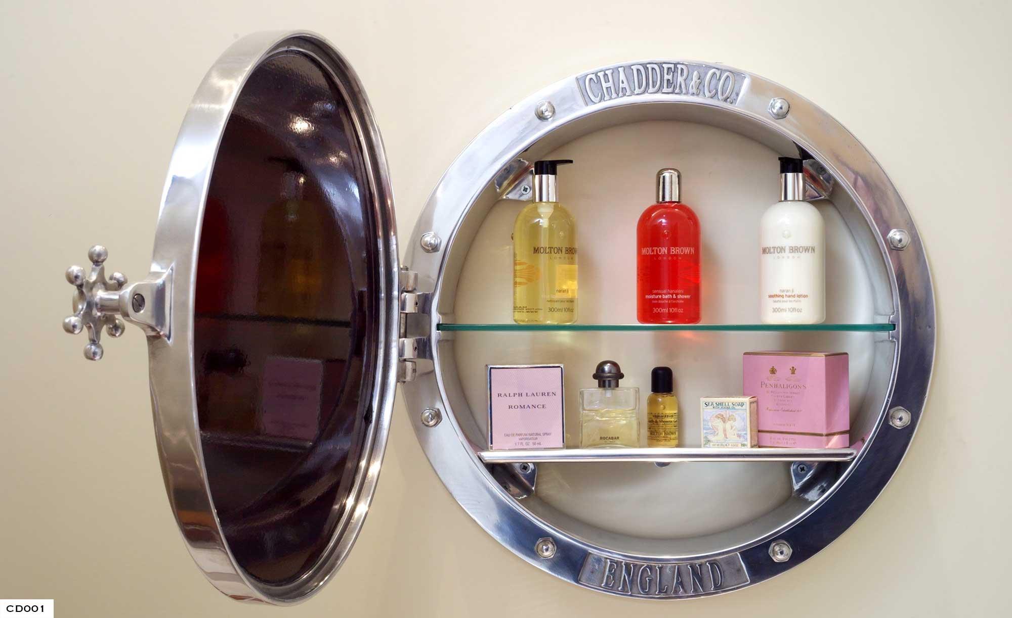Porthole Cabinet, Porthole Mirror, Metal Porthole Cabinet, Chadder, Bespoke Cisterns, Luxury Powder Room