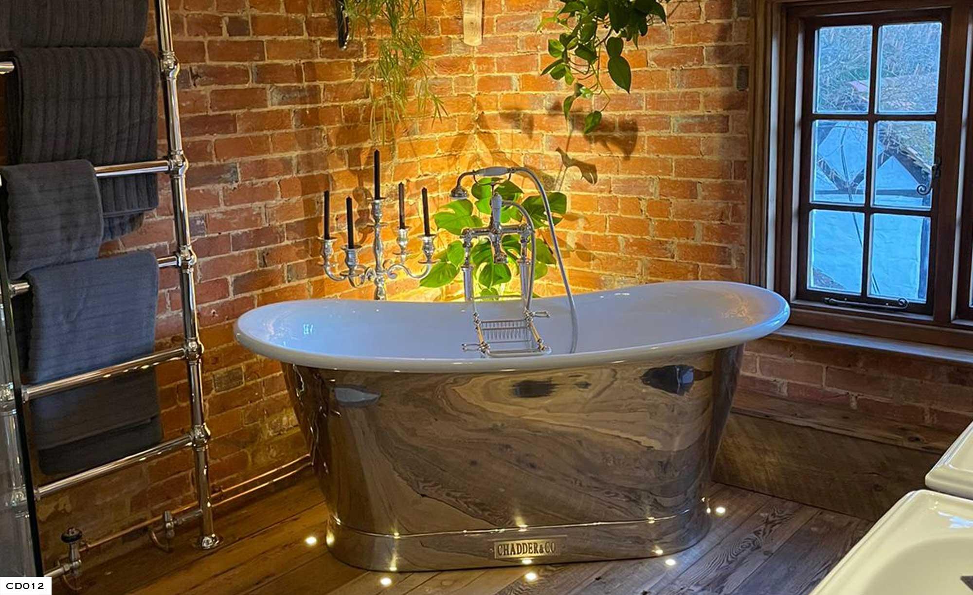 Chadder Vintage Nickel Roll Top Bath with Nickel Fittings Period Oak Floor